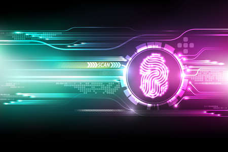 Abstract technology background.Security system concept with fingerprint Letter P sign.Vector illustration Çizim