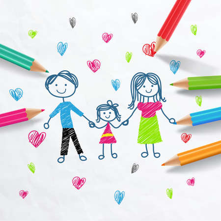 Family love.Draw With Colored Pencils Vector