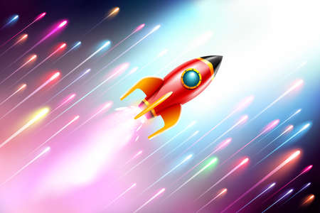 The rocket ship flying in the space.Vector Illustration