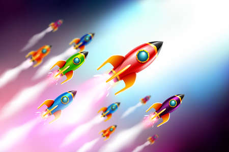 Rrockets ship flying in the space.Vector Illustration