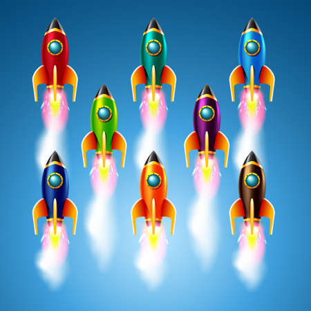 set of different color rockets.Vector illustration