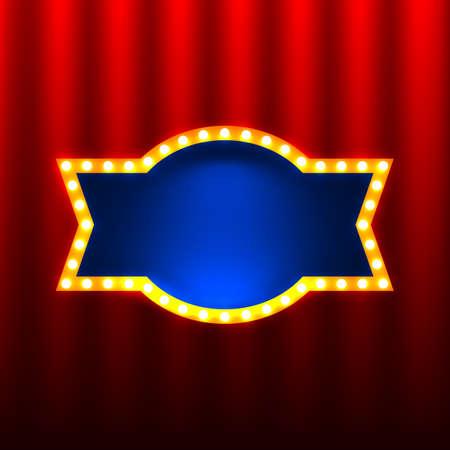 赤いカーテンの背景にレトロなバナー  イラスト・ベクター素材