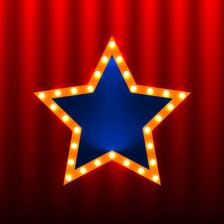 neon light: retro star banners on the red curtain background Illustration