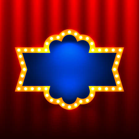 curtain up: retro banners on the red curtain background Illustration