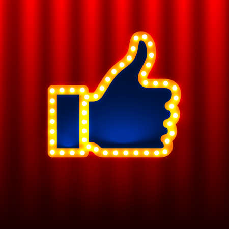 like hand: Retro Like Hand Sign on the red curtain background
