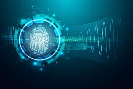 기술: 지문 편지 P sign.Vector 일러스트와 함께 추상 기술 background.Security 시스템 개념