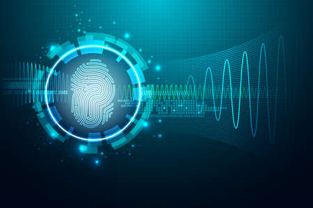 tecnologia: Tecnologia conceito abstrato sistema background.Security com impressão digital Letter P sign.Vector ilustração Ilustração