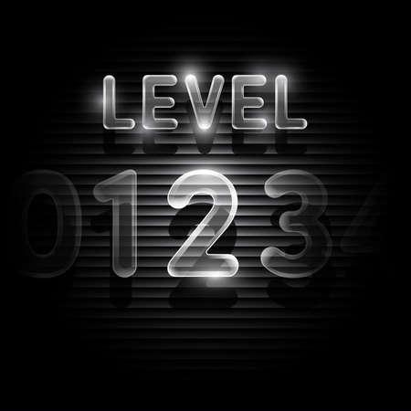 levels: Transparent level 2 screen on dark Illustration