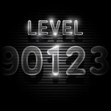 level: Transparent level 1 screen on dark Illustration