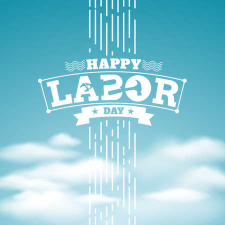 blue sky and Happy Labor Day.vector illustration