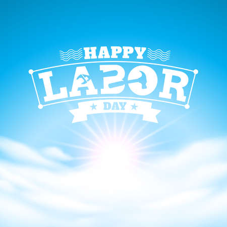 blauwe lucht en Happy Labor Day.vector illustratie