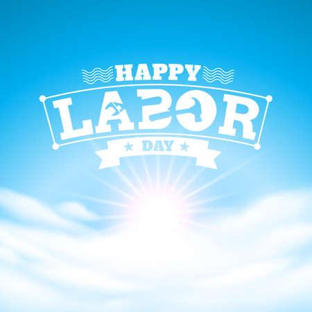 day: cielo azul y del Trabajo feliz Day.vector ilustración Vectores