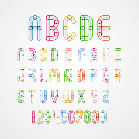 s c u b a: Set of Colorful alphabet capital letters A,B,C,D,E,F,G,H,I,J,K,L,M,N,O,P,Q,R,S,T,U,V,W,X,Y,Z. and numbers.vector illustration Illustration