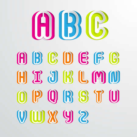 s c u b a: Set of colorful alphabet capital letters A,B,C,D,E,F,G,H,I,J,K,L,M,N,O,P,Q,R,S,T,U,V,W,X,Y,Z.Vector illustration