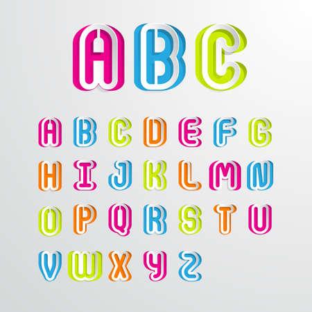 Set of colorful alphabet capital letters A,B,C,D,E,F,G,H,I,J,K,L,M,N,O,P,Q,R,S,T,U,V,W,X,Y,Z.Vector illustration
