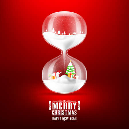 christmas banner: Merry christmas and Happy new year with hourglass.vector illustration