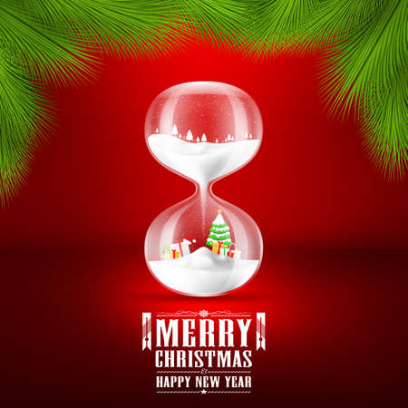 christmas time: Merry christmas and Happy new year with hourglass.vector illustration