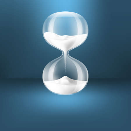 antique clock: Hourglass.Transparent arena blanca clock.EPS10 Vectores