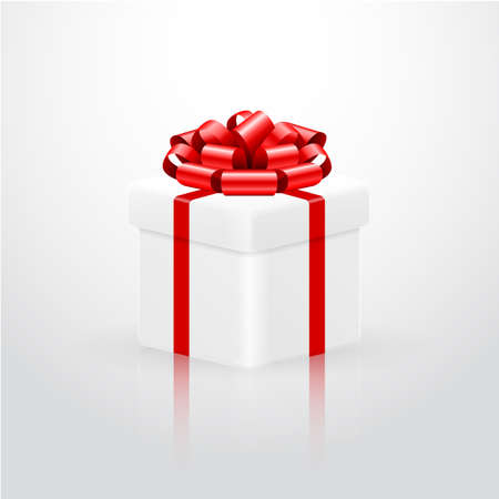 red gift box: White gift box with red ribbon.Vector illustration.