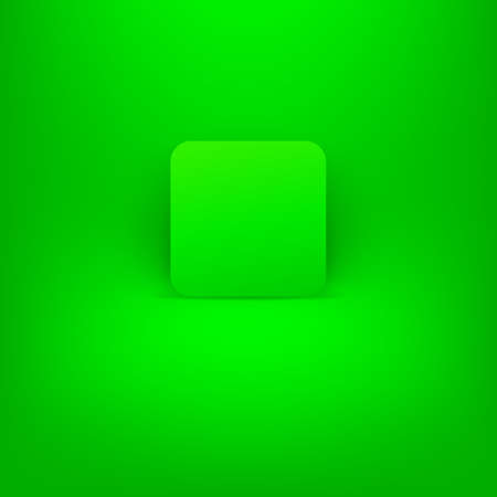 satined: Green blank internet button.Rounded square shape icon with shadow on Green background