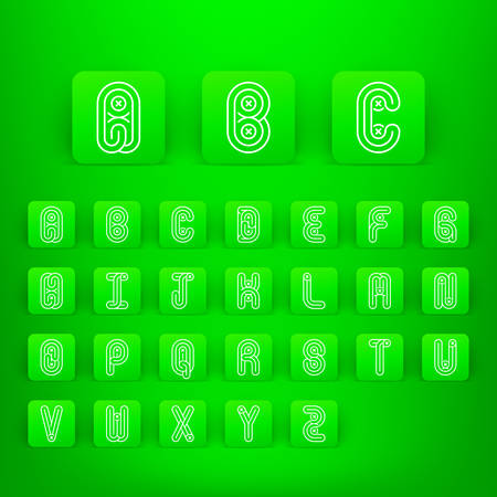 alphabetic: Mono lines style alphabetic fonts capital letters