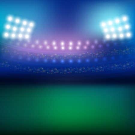 Estadio y el fondo de las luces Ilustración de vector