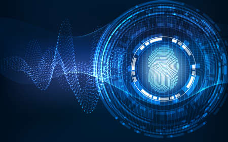 Abstract technology background.Security system concept with fingerprint Letter P sign 写真素材