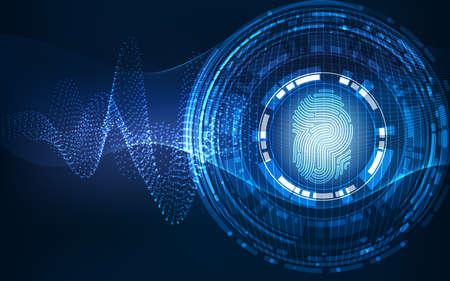 Resumen de tecnología de concepto de sistema background.Security con la huella digital de la letra P signo Foto de archivo