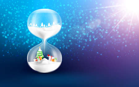 Happy new year and Merry Christmas background.hourglass clock on bokeh background with copy space.Vector illustration eps 10 Ilustrace