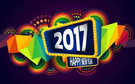 theme: Colorful of Happy new year and abstract geometric background.The 2017 year on retro board with light bulbs billboard frame.Vector illustration eps 10 Illustration