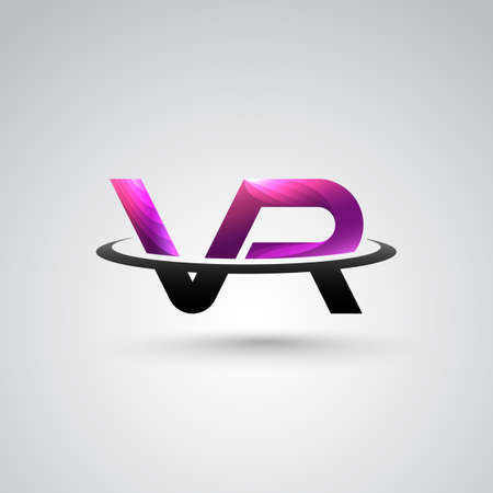 VR Logo With VR Alphabet for Virtual Reality Game and Movie.Virtual Reality Technology Concept.Vector illustration eps 10 Illustration