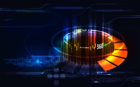 抽象的なデジタルやあ技術革新 360 度概念の使用の技術背景または仮想現実 Technology.Vector イラスト eps 10