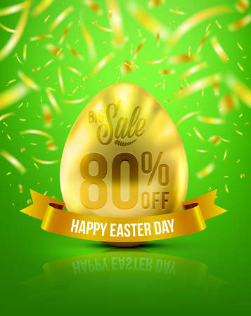 golden egg: Easter Eggs in Gold Color for Easter Day Banner 80% Discount With Realistic Shine Gold Light On the Green Background and Golden Confetti Flying.Use for Easter Day Sale and Easter Day Promotion Illustration