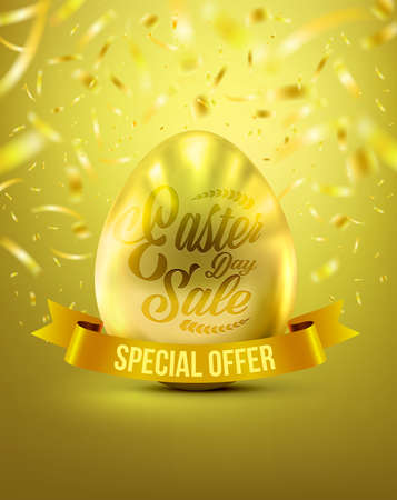 Easter Eggs in Gold Color for Easter Day Banner Discount With Realistic Shine