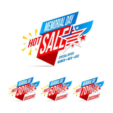 Memorial Day Sale discount labels vector illustration for Memorial Day Promotion Illustration