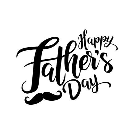 Happy fathers day lettering isolate on white background
