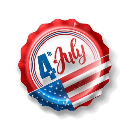 Independence day 4 th july with Soft Drink Bottle Cap.Happy USA Independence Day 4 th July Illustration