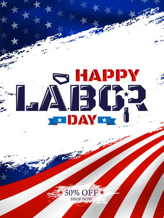 Happy Labor Day with American flag background.