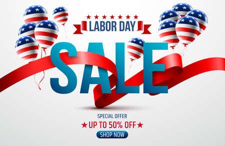 アメリカの国旗の背景を持つハッピー労働者の日。労働日の販売促進広告バナー テンプレート。アメリカの労働者の日の壁紙。ベクトル図  イラスト・ベクター素材