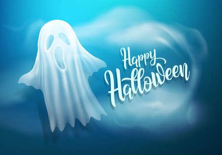 暗い青 background.vector イラスト eps 10 に白い透明な幽霊とハッピー ハロウィン背景  イラスト・ベクター素材