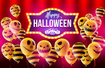 幸せなハロウィーン概念ハロウィン ゴースト Balloons.Scary 空気で風船とレトロな光に Halloween.Flyer または招待状テンプレート、パンフレット、ポスタ