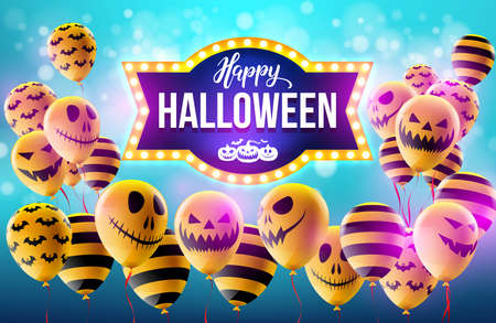 Happy Halloween concept with Halloween Ghost Balloons.Scary air balloons and Retro light sign for Halloween.Flyer or invitation template,Brochures,Poster or Banner.Vector illustration EPS10 Illustration