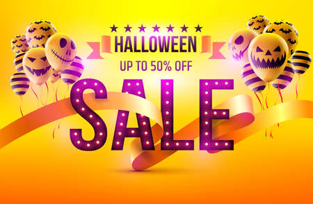 Happy Halloween Sale concept with Halloween Ghost Balloons.Scary air balloons and Retro light sign with SALE Text.Flyer or invitation template,Brochures,Poster or Banner.Vector illustration EPS10