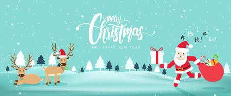 Merry Chrismas and Happy New Year website banner with Cute Santa Claus.Vector illustration EPS10