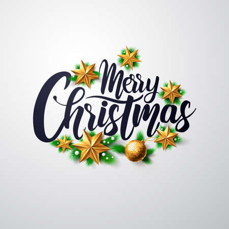 Merry Christmas Calligraphic Inscription Decorated with Golden Stars.Vector illustration EPS10