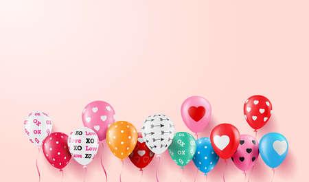 背景やバナーバレンタインテンプレートのためのバレンタイン気球とバレンタインデーの背景。ベクトルイラスト EPS10