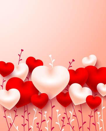 バレンタインデーカード、上にコピースペースと愛とかわいい心。
