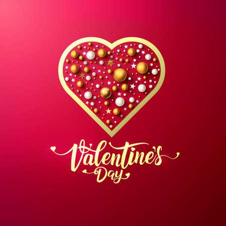 タイポグラフィとカット紙のハートとバレンタインデーの招待カード。ベクトルイラスト EPS 10  イラスト・ベクター素材
