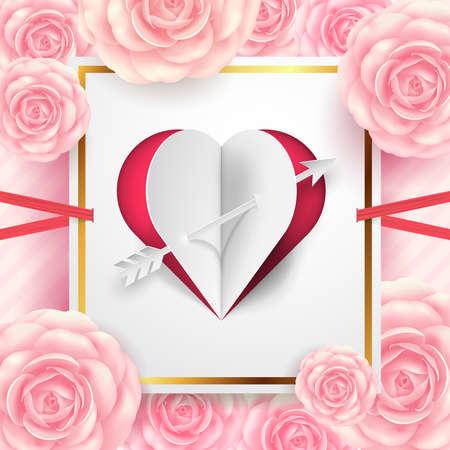 カット紙のハートとグリーティングカード、バナー、チラシ、ポスターやパンフレットのための美しい花とバレンタインデーカード。