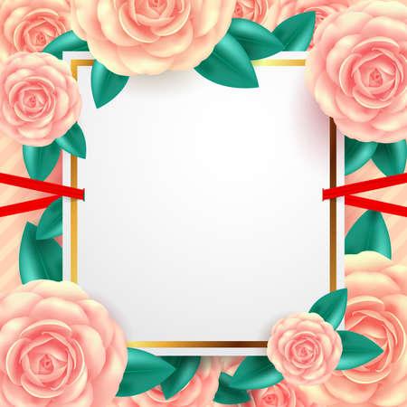 バレンタインデーのグリーティングカード、バナー、チラシ、ポスター、パンフレットのための美しい花を持つ白い空白のバナー.VectorイラストEPS 10